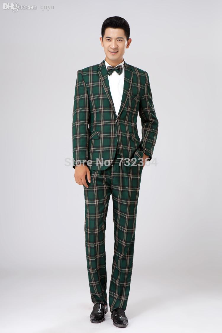2e8084c99ef3 Wholesale-mens Green Check Tuxedo Suit /wedding/ Stage Performance ...