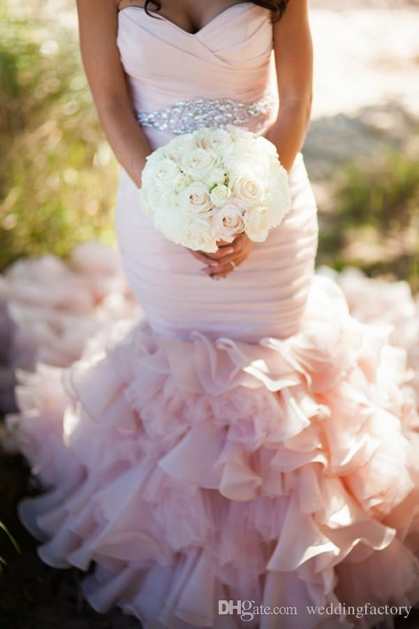 Real Image Blush Pink Mermaid Wedding Dresses High Quality Low Open Back Fit and Flare Bridal Gowns Ruched Ruffles Crystals Sash Custom