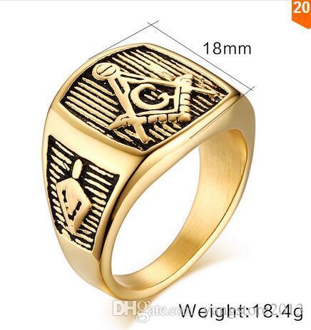 2016 Classic 18k Pozłacane Masoński Mężczyźni Pierścionki Party Zaręczyny Biżuteria Rhinestone CZ Masonic Pierścienie dla mężczyzn Silveren SI0632