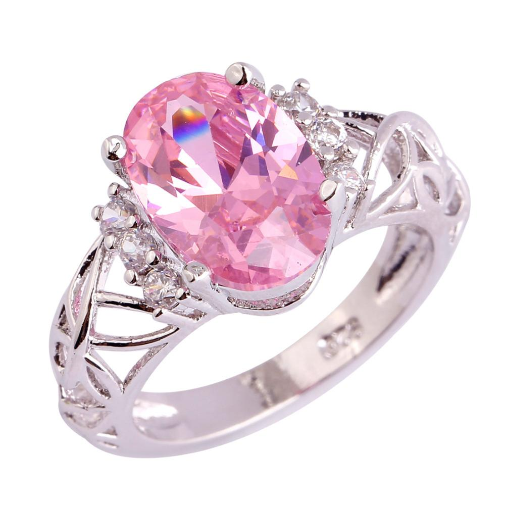 2018 Wholesale Women Wedding Party Jewelry Oavl Pink Topaz White ...