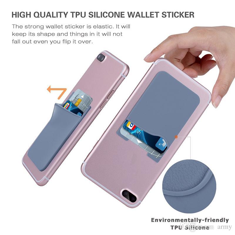 Auto-slim auto-adhésif carte de crédit portefeuille carte de crédit portefeuille silicium coloré pour smartphones pour Sumsung S8