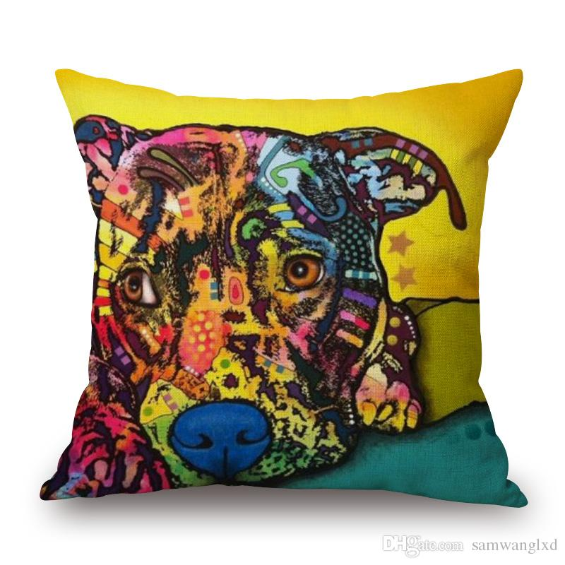 Animal series POP Art dogs Cat printed cushion cover cotton linen throw pillow case cushion cover for home sofa decor pillow cover