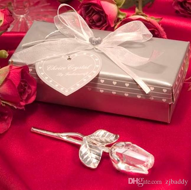 Wedding Return Gifts Romantic Crystal Rose With Long Stem Alloy For
