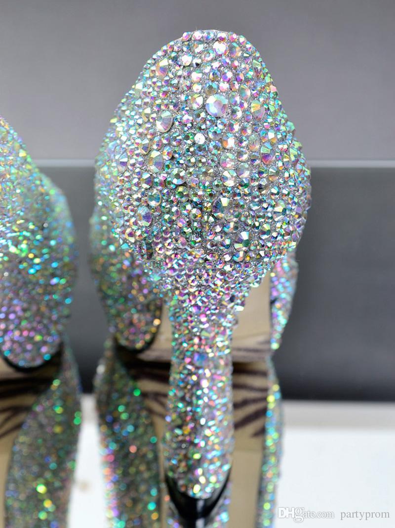 Handmade Peep Toe Rhinestone Wedding Shoes AB Crystal Bridal Shoes Party Evening Prom Dress Platform Pumps