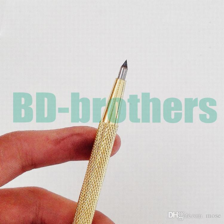 Gold Color Diamond Glass Pen Cutter Lettering Carbide Tipped Scriber Engraving for Phone Tablet PC Glass Screen Cutting