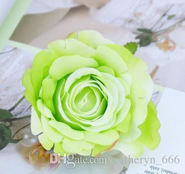 Rosa Cabeza de flor Color de primavera Accesorios de decoración de boda romántica Abrir Bud Floreciente Rosa Fondo de la boda Flor de la pared Deco