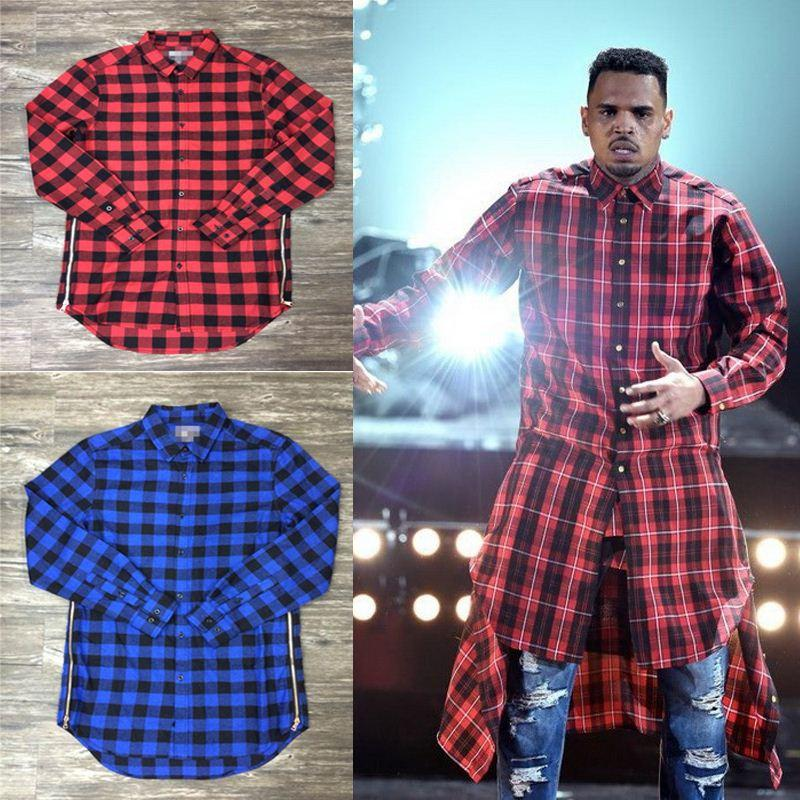 2017 Plaid Shirt Men Slim Fit Red Blue 2015 Hip Hop Shirts Men ...