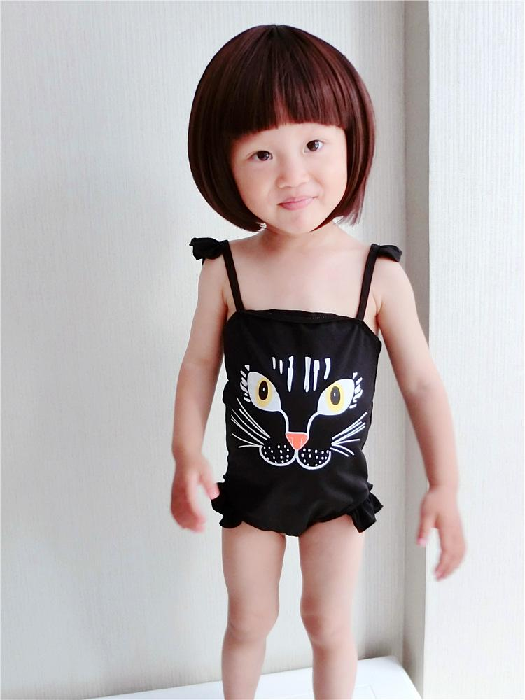 7400d98e8f0 2019 Kids Cat Swimsuit Cute Girls Swimsuits Kids Black Bathing Suit  Clothing Children Swimwear Summer Printed One Piece Bathing Suit In Stock  From The_one, ...