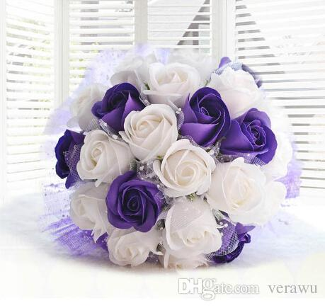 Purple And White Soap Bridal Bouquets Romantic Wedding Gifts Never Wither Flowers Artificial Rose ValentineS Day Gift Cheap Car