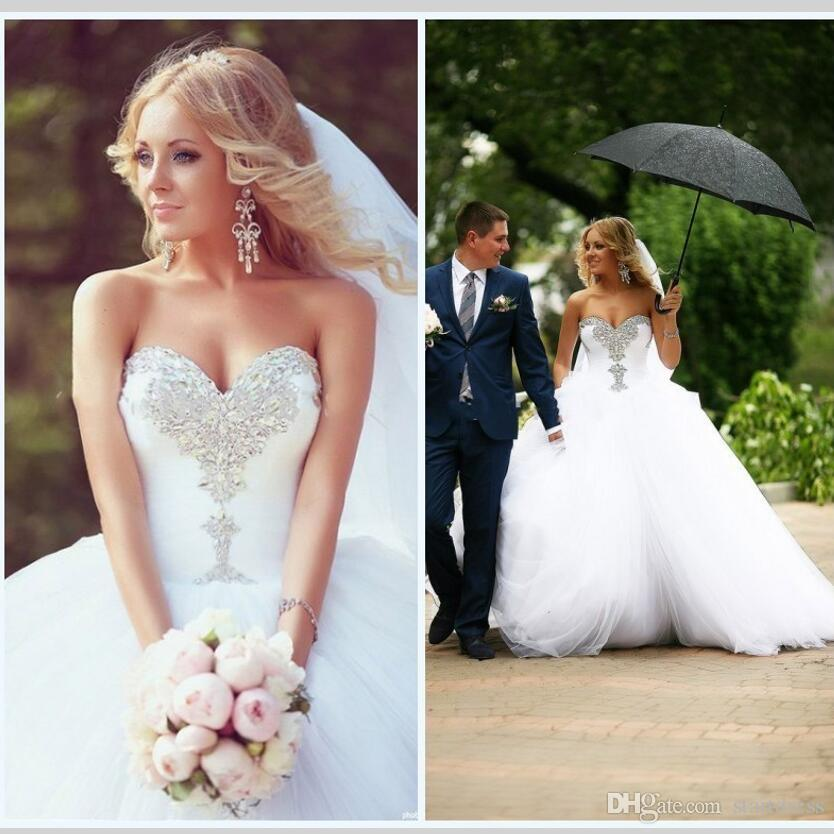 Designer Wedding Ball Gown Dress Beading Bling Train Country Wedding Dresses Sweetheart Tulle White Puffy Cheap Plus Size Wedding Dresses 18