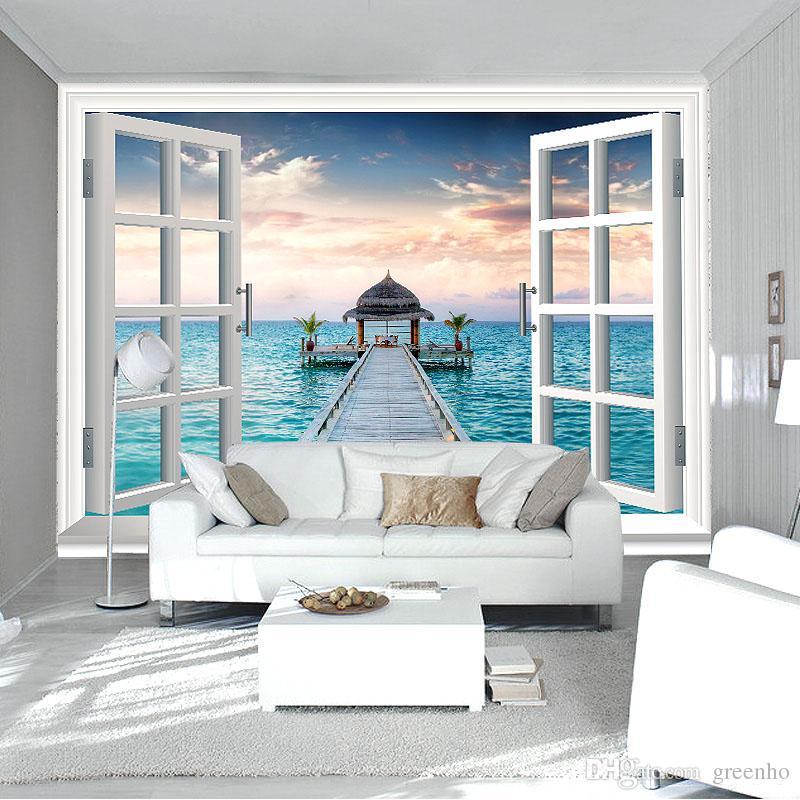 Elegant 3d Window Wall Mural Ocean Photo Wallpaper Personalized Custom Wallpaper  Seascape Room Decor Kid Bedroom Sitting Room Modern Interior Design  Wallpaper ...