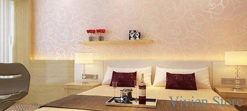 Simple Bedroom Wallpaper simple non woven wallpaper new romantic rose marriage room bedroom