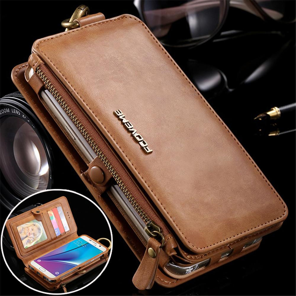 detailed look 7c23c 77c97 Leather Wallet Case For Samsung Galaxy Note 3 4 5 S7 Edge Vintage Business  Multifunction 2 In 1 Phone Case For Iphone 7 6s Plus