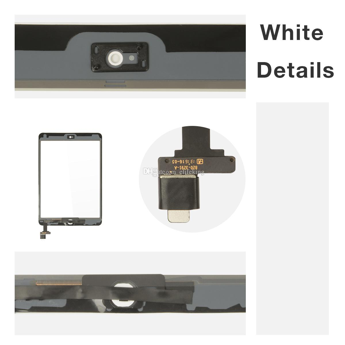 Best quality For iPad mini & mini 2 3 4 Touch Screen Digitizer Assembly Glass Front Lens Replacement Part Touch Screen Free DHL+Black &White
