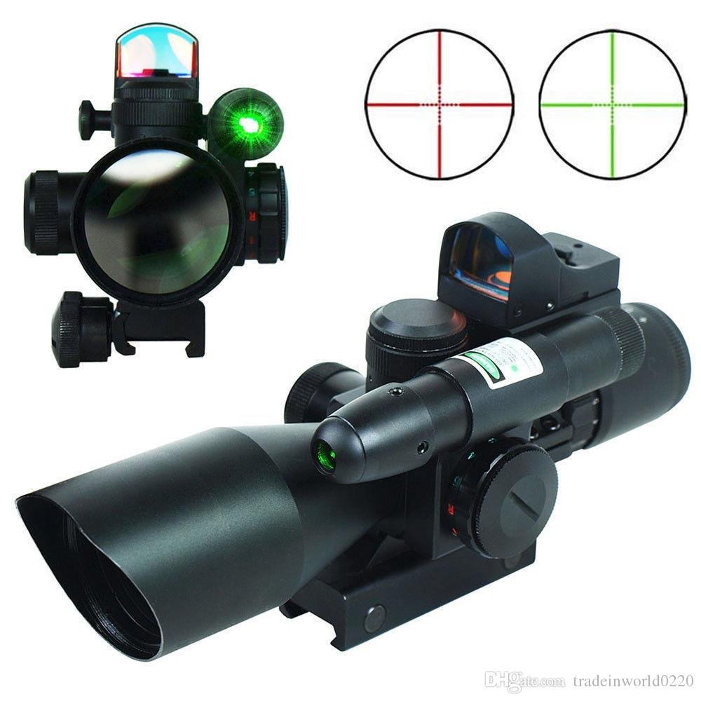 2.5-10x40 Tactical Rifle Scope W / Green Laser Mini Reflex 3 Moa Red Dot Syn