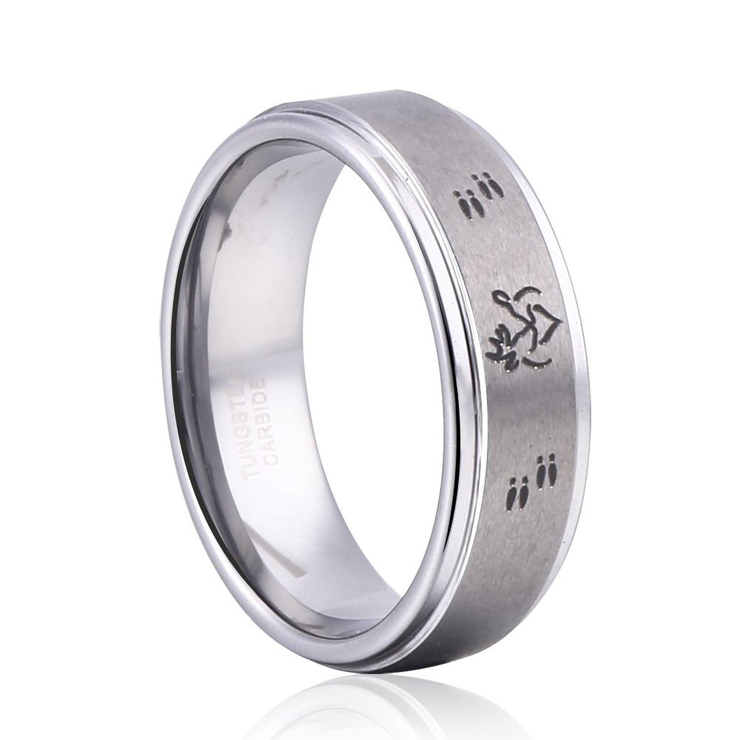8mm tungsten carbide ring jewelry deer antler ring her buck his