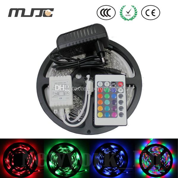 5m 300 LED 3528 RGB color changing flexible strips set + 24 Keys IR remote controller + 12V 2A 24W adapter by Fedex
