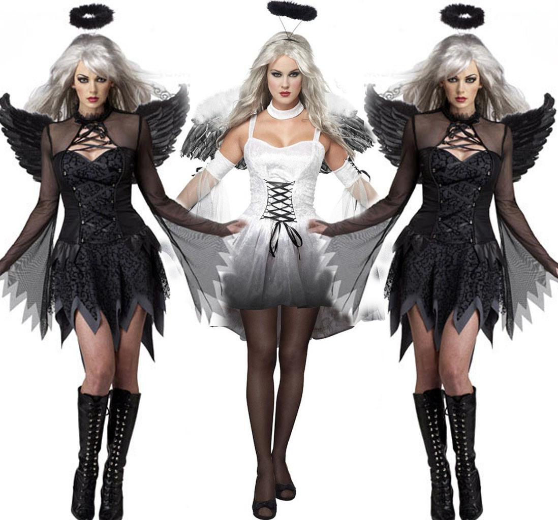 1 set Free Size Hot Sale Women sexy Black White Devil Costume Halloween Outfit Dress Up Hen Party Angel With Wing Cosplay Exotic Appare