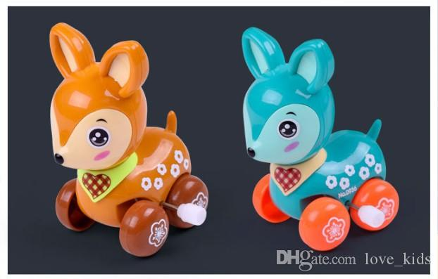 Lovely wind up toy animal funny baby Zoo Baby deer design Running Clockwork Spring Toy newborn baby clockwork toy Color Random