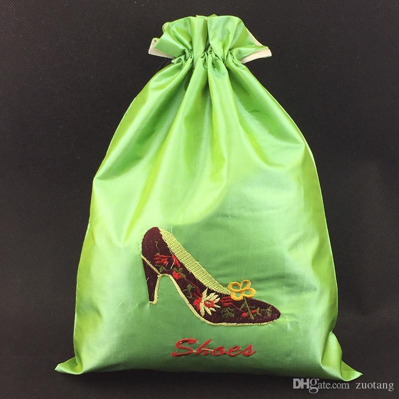 Двухъярусные Вышитые Путешествия Обувь Сумки Для Хранения Для Женщин Высокое Качество Многоразовые Атласная Ткань Шнурок Обуви Чехол Защитные Чехлы Упаковка Мешок