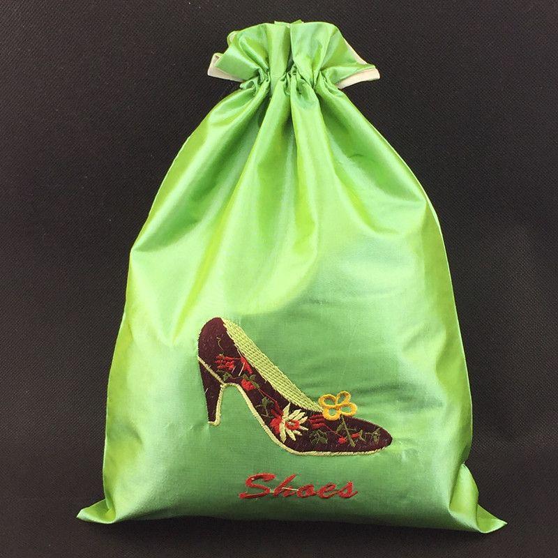 Sacco a pelo ricamato borse da viaggio di stoccaggio le donne di alta qualità Sacco a pelo riutilizzabile panno di raso con coulisse custodia custodia protettiva