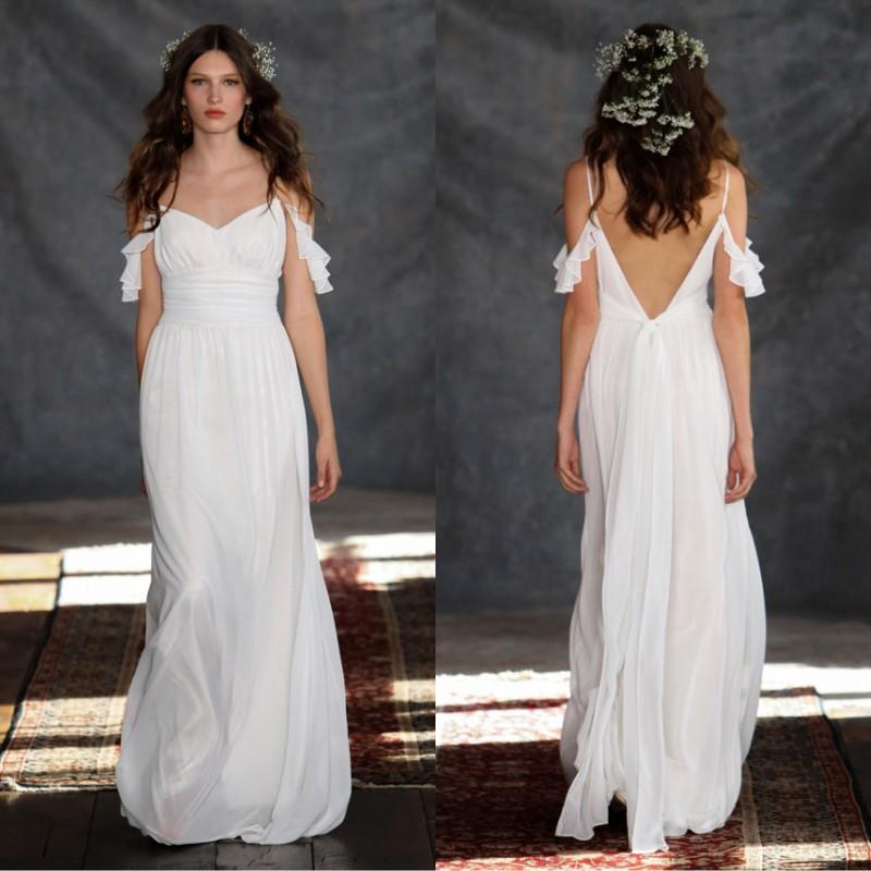 2015 beach casual wedding dresses open back cheap bridal for Cheap wedding dresses for guests