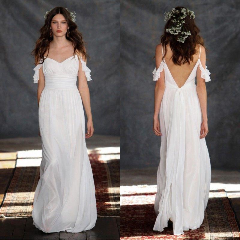 2015 Beach Casual Wedding Dresses Open Back Cheap Bridal Gowns ...