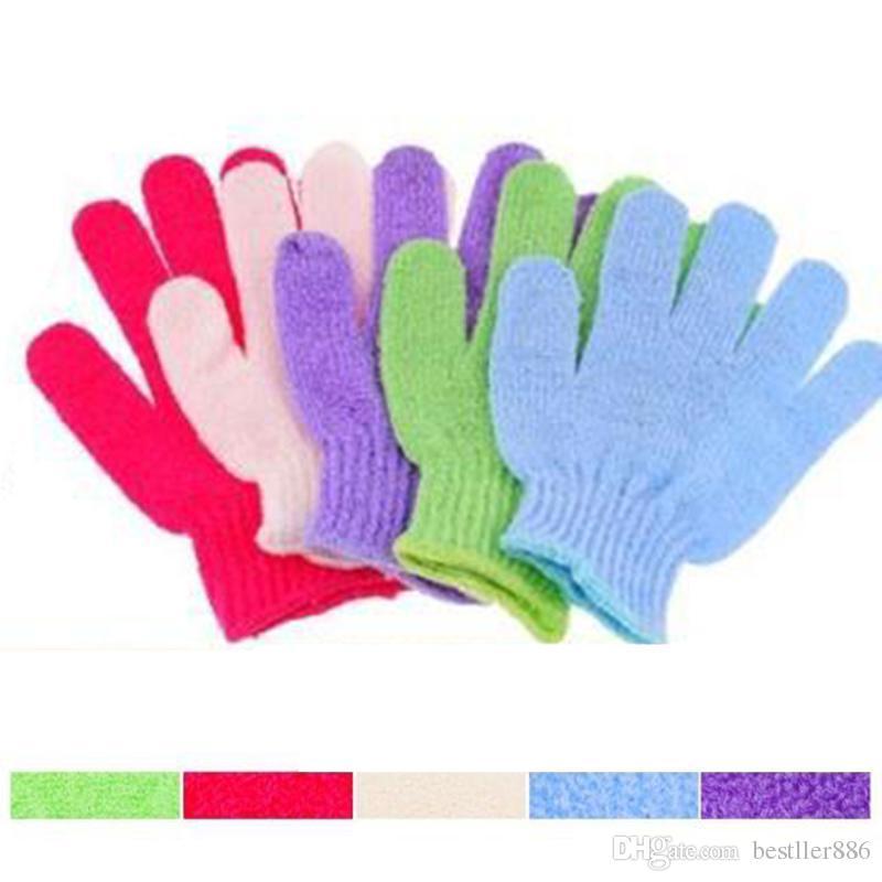 Рукавица душ ванна отшелушивающий ванна душ перчатки для пилинга отшелушивающий Рукавица перчатки пять пальцев скруббер Spong ванна перчатки СПА пены
