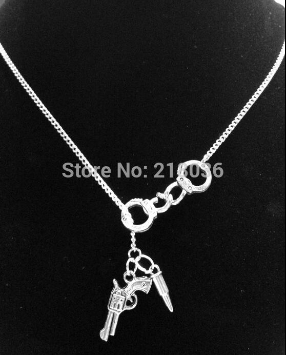 Wholesale vintage silvers police handcuff gunsbullet charms choker wholesale vintage silvers police handcuff gunsbullet charms choker sweater chain couple necklaces pendants fashion jewelry for woman l448 pearl jewelry aloadofball Image collections