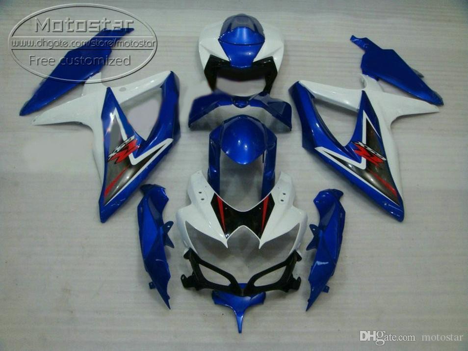 Горячие продажи обтекатель комплект для SUZUKI GSXR750 GSXR600 2008 2009 2010 K8 K9 GSX-R600 / 750 08-10 белый черный синий обтекатели набор R56P