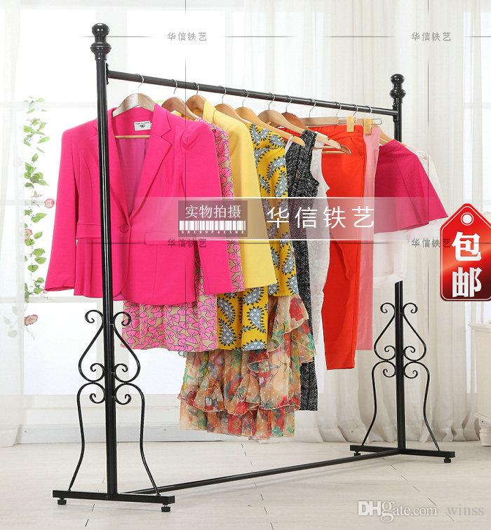 wrought iron clothes rack display shelf ground hangers indoor hanging clothes clothing store side hang clothes rack from winss dhgatecom - Hanging Clothes Rack