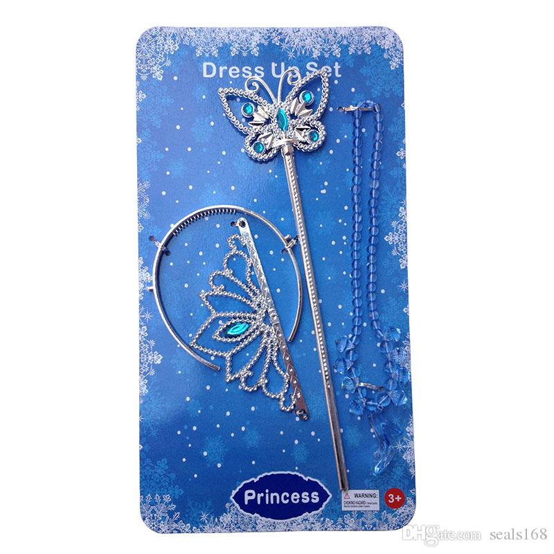 Cinderella Jewelry Accessories Sets Crown Magic Wand Necklace Baby Children Girls Cartoon Cosplay Princess High Heels Necklace Gifts PX-N01