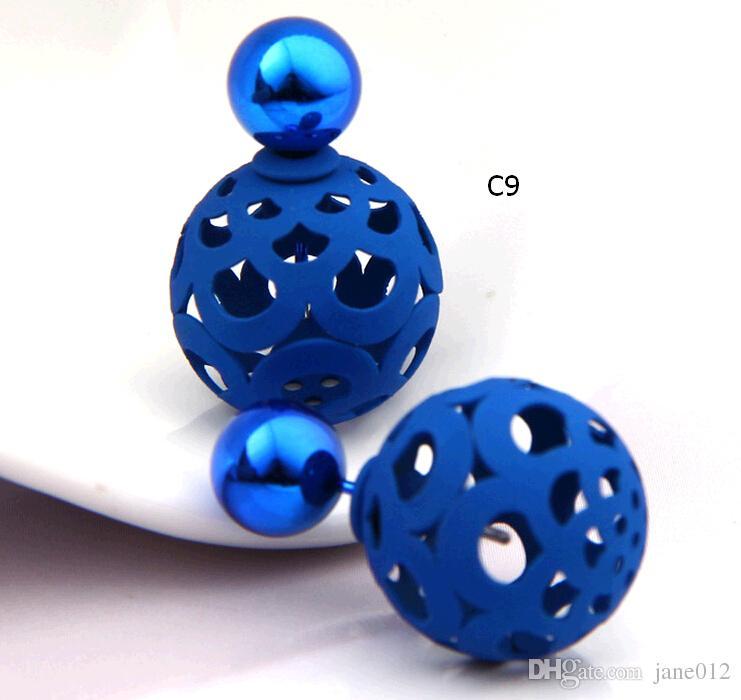İki taraflı Toplar Küpe Çıtçıt Baloncuklar Ön ve Arka Küpe oymak Mixedlot çift taraflı Destek Kulak Tırnak Toptan Satışa