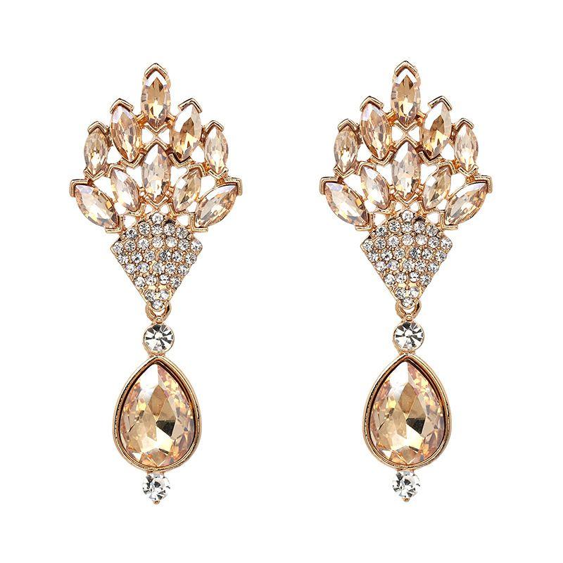 2018 European Style Gold Diamond Earrings Simple Gold Earring ...