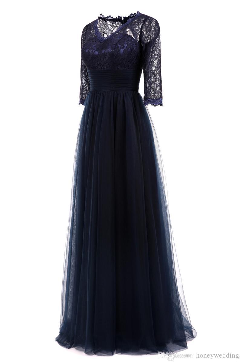 Großhandel Navy Blue Abendkleider Lange 12/12 Ärmeln Spitze Tüll Plus Size  Abendkleider Abendkleider Günstige Real Photo 12 Abendkleider Von