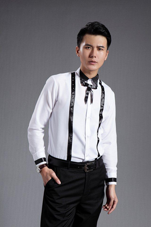 2015 White Mens Prom Shirts With Bow Beads Tuxedos Shirts Normal ...