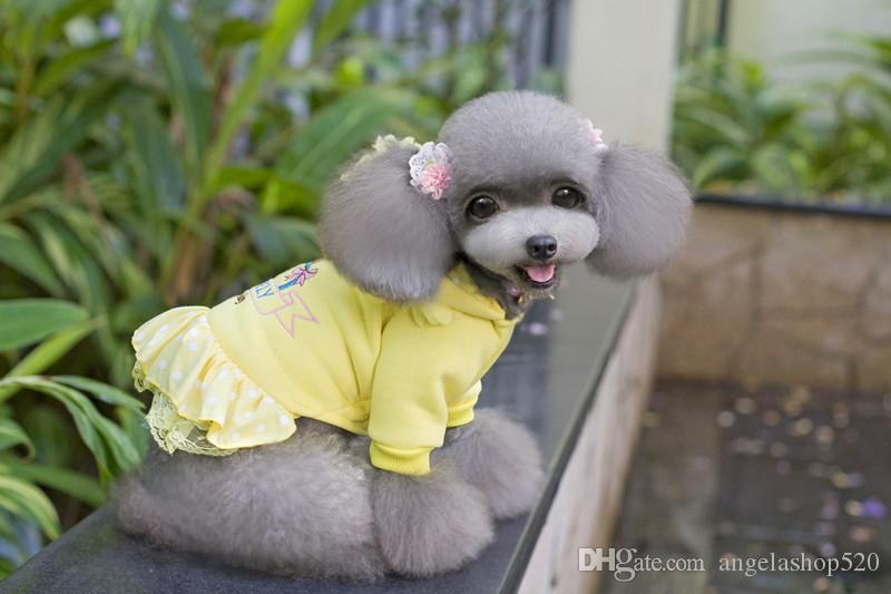 dog apparel TEDDY girl clothes winter diamond embroider dresses pink yellow colors puppy dog sweateshirts for female dog