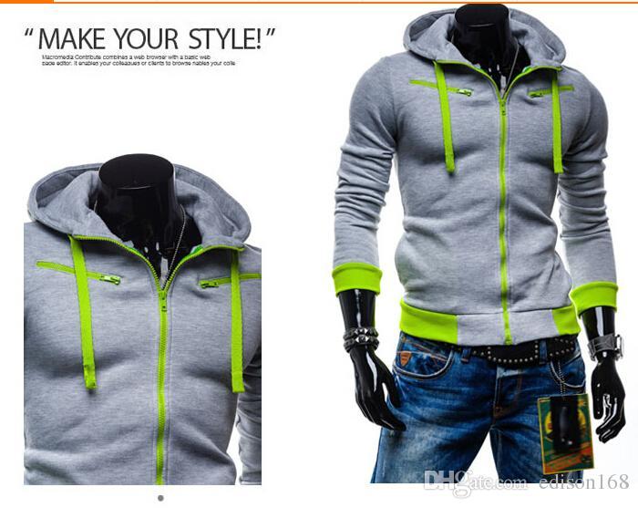 Hot Sale Mäns Hooded With Hat Fleece Cardigan Långärmad Hoodie Coat Jacka Overroat Kläder 5 Färgstorlek M-2XL 8705