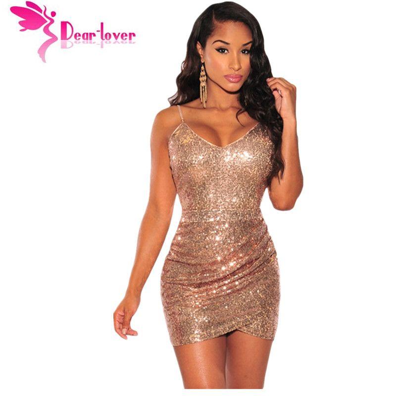 2bad474713 Compre Querida Amante Fiesta Sexy Correa V Cuello Rose Gold Sequin Fruncido  Club Vestido Mini Bodycon Vestidos De Lentejuelas De Tela Ropa De Niña  LC22626 ...