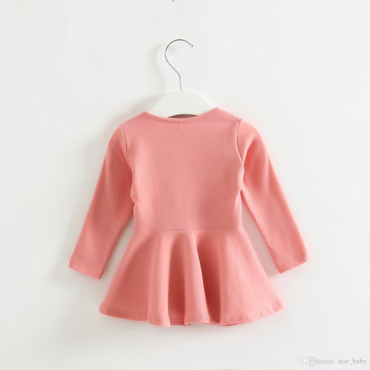 2015 Moda Elbiseler Katı Kız Elbise Prenses Eğlence Temel Aşınma Kolsuz Çocuk Çocuk Elbise Elbise Pembe Beyaz Fuşya Gri K5009