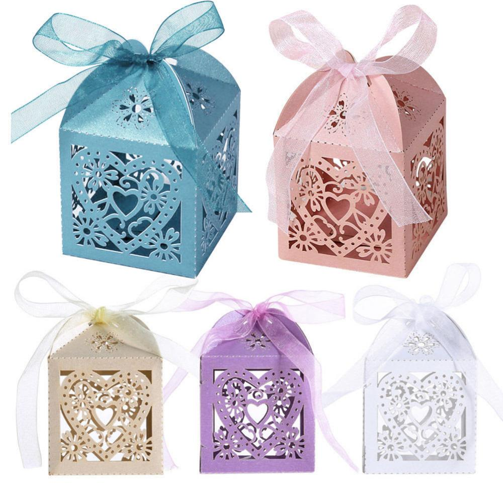 Love Heart Laser Cut Gift Candy Boxes Wedding Party Christmas Favor With Ribbon