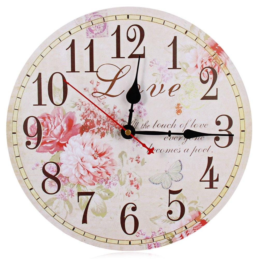 2016 On Sale Large Wall Clocks Retro Wooden Silent Vintage Home Decor Big Watches Relojes Decoracion Colorful