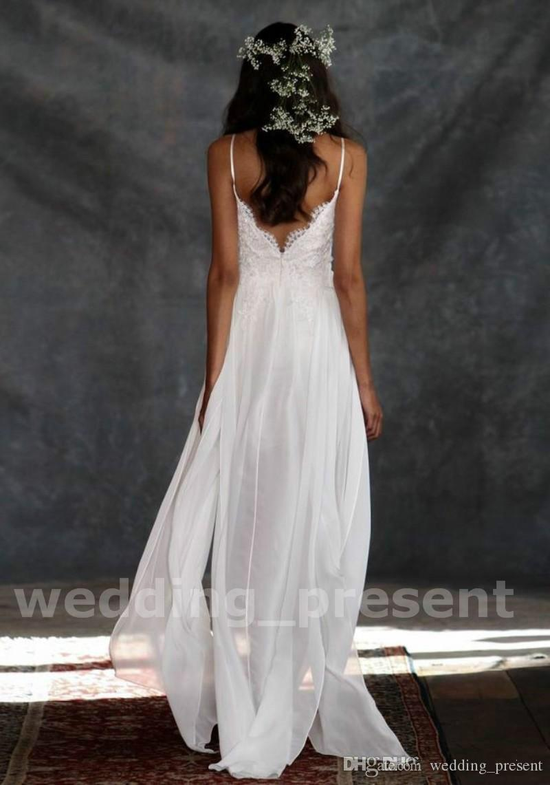 High Low Beach Wedding Dresses V Neck Spaghetti Strap Short Lace Wedding Gowns White Backless Bridal Gowns Summer Wedding Wear 2016