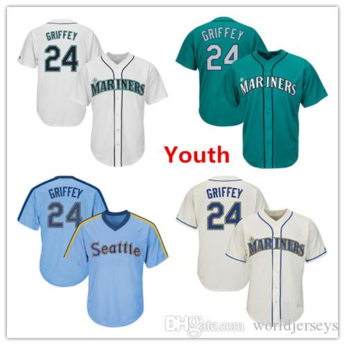 a808df239 Youth Kids Child Mariners 24 Ken Griffey Jr. Baseball Jersey Cream Aqua  Green White Gray Grey Cooperstown Players Weekend Salute to Service Online  with ...