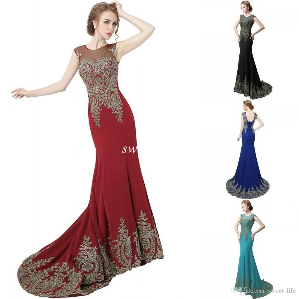 Cheap Long Prom Dresses 2016 Mermaid Sheer Jewel Dark Red Chiffon ...