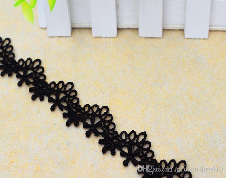 "30 Yard Width 0.7"" Black Hollow Flower Wave shape Lace Cotton Fabric Trim For DIY Bridal wedding Doll Cap More Colors"