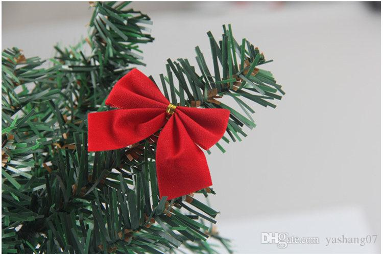 2017 Christmas decorations Christmas tree hang decoration Small bowknot red gold and silver 12 dresses