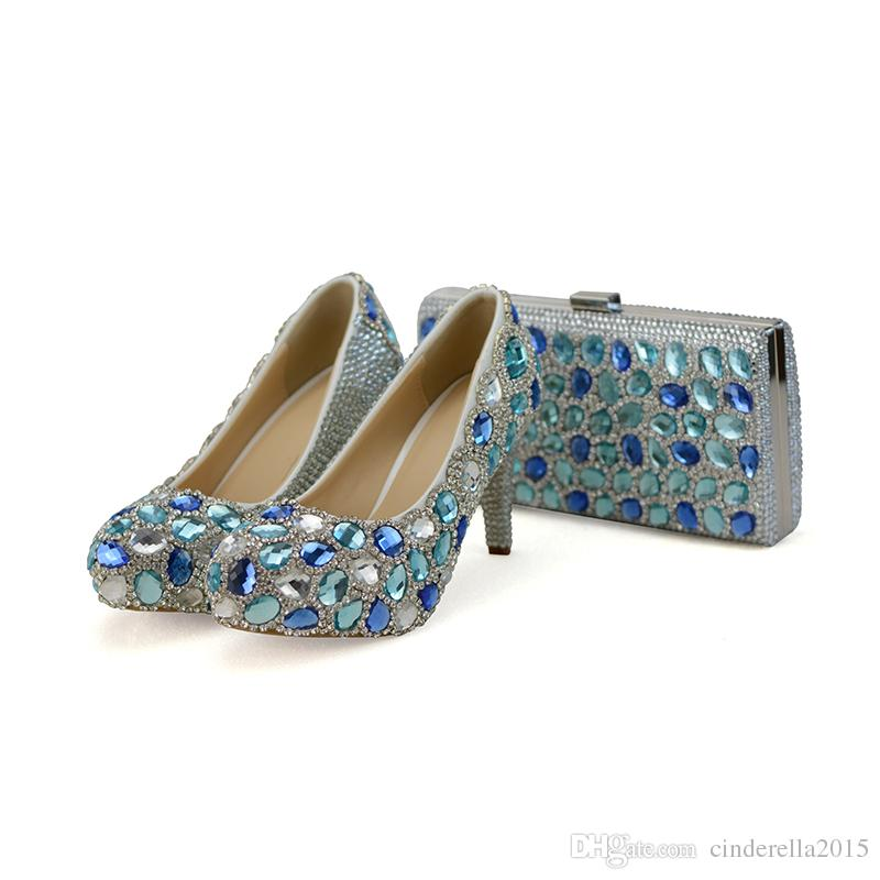6fa50529f846 Blue Crystal Wedding Party High Heels With Clutch Chunky Heel Rhinestone  Prom Pumps Cinderella Prom Shoes With Matching Bag Silver Wedding Shoes  With ...