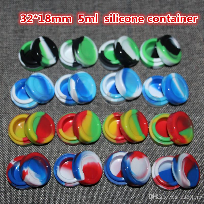 2016 Hot Selling Silicone Wax Oil Container 5mL 32 * 18 milímetros Concentrado Containers Silicone Jars Wax Wax Containers Atacado frete grátis DHL