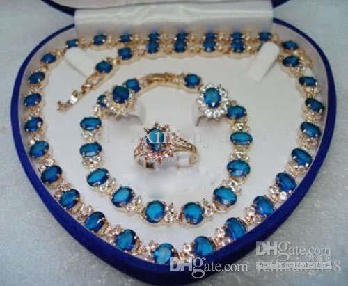 Azul pedra safira 18kt conjunto amarelo colar de cristal bracelete brincos anel jóias conjunto